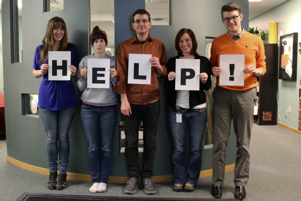 image of people with help sign